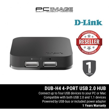 D-LINK DUB-H4 4 Port 2.0 USB HUB with 1 Port High Power for Smart Phone & IPAD Charging