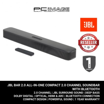 JBL Bar 2.0 ALL-IN-ONE Compact 2.0 Channel Soundbar with Bluetooth