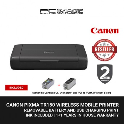 CANON PIXMA TR150 WIRELESS MOBILE PRINTER WITH REMOVABLE BATTERY AND USB CHARGING PRINT