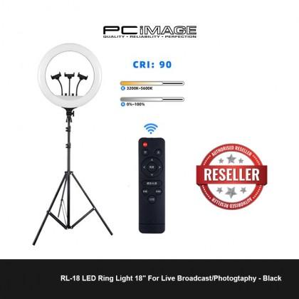 """RL-18 LED Ring Light 18"""" For Live Broadcast/Photogtaphy - Black"""