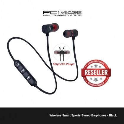 Wireless Smart Sports Stereo Earphones - Black